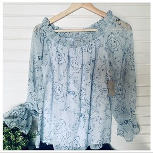 Belle Sky NWT Women's Gathered Neckline Blouse